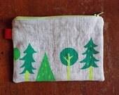 Green Forest Zipper Pouch