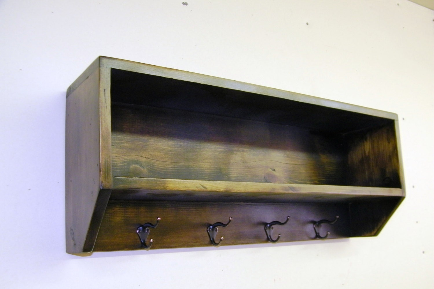 Wood wall shelf with coat hooks mission oak finish