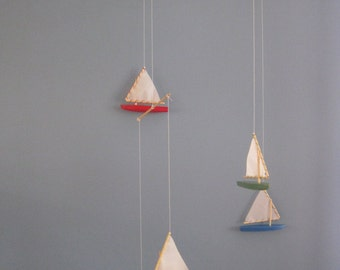Handmade Wooden Sunfish Sailboat Mobile