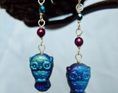 Jet AB Owl Earrings with Sterling