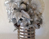 Silver and Gold Winter Silk Flower Arrangement - ThePetalHouse