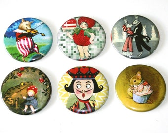 Whimsy Fairytale Illustrations - Set of 6 Large Fridge Magnets