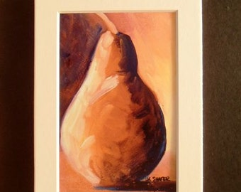 5x7 Matted Art Print - Orange Pear
