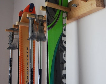 Snow Ski Storage Rack, Wall Mount, 2 Skis