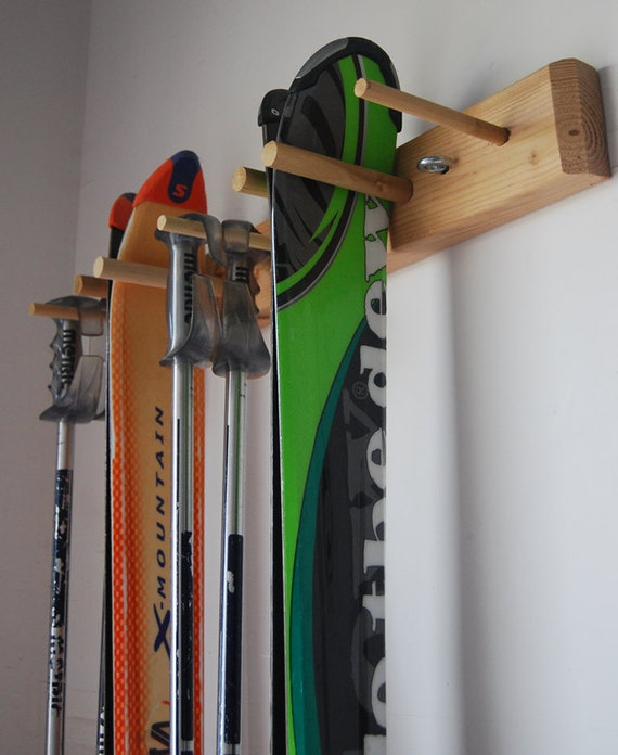 Snow ski storage rack wall mount 2 skis for Rack rangement garage