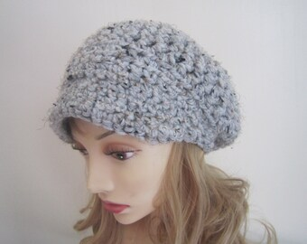 Hand Crochet Newsboy Hat - In Grey Marble, or Choose Your Color