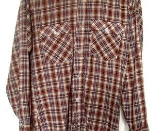 Vintage Men's Western Plaid Work Shirt