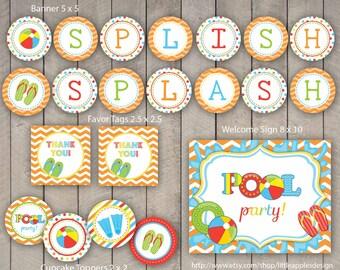 Pool Party / Kids Pool Party / Pool Birthday Printable / Pool Printable / Pool Party Printable / Pool Decoration