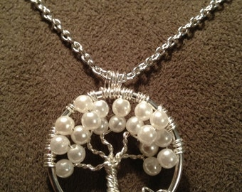 Petite Pearl Tree of Life Pendant --June Birthstone Wedding Handmade Jewelry Gemstones Wire Wrapped Trees