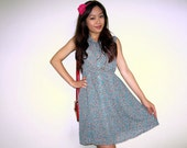 CLEARANCE: XS-S  / 6-10 (Sm 10) 90's Japanese Vintage Autumn Leaves Dress in Teal