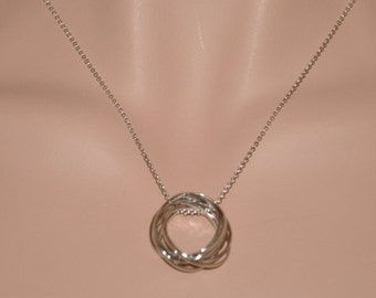 Sterling Silver Necklace, 7 Sterling Silver Circles Pendant Necklace
