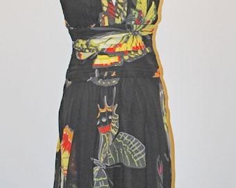 Butterfly dress size 12UK in silk