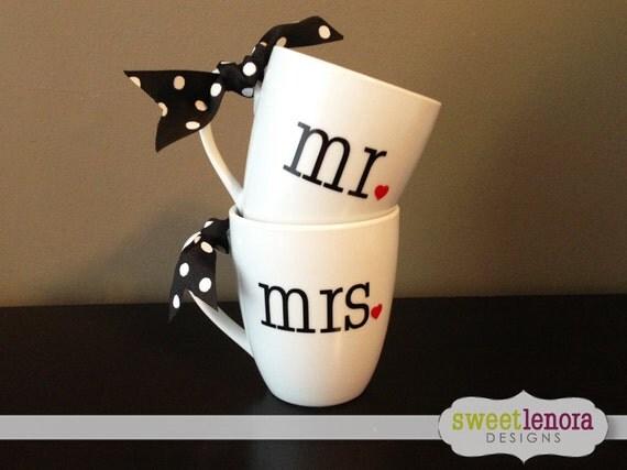 Mr And Mrs Gifts Wedding: Mr And Mrs Coffee Cup Mug Wedding Gift Set