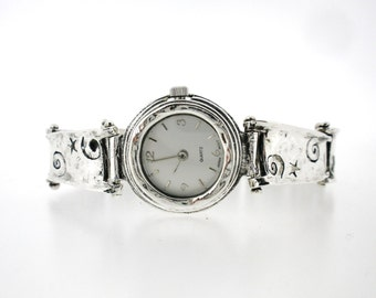 Porans, Handcrafted Sterling Silver Watch Bracelet, Unique Design by Amir Poran, Artistic Jewelry, Made In Israel