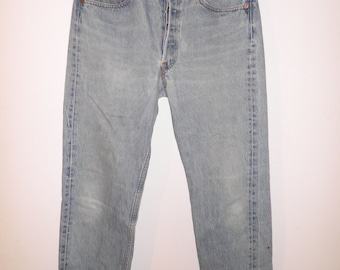 Levi's 501. bright blue. Classic used jeans. W32 L33