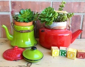 Vintage - Enamelware Teapots - French Country Cottage - Planters - Industrial Farmhouse - Colorful CHIC