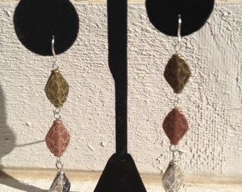 Bronze, Gold and Silver Dangling Earrings