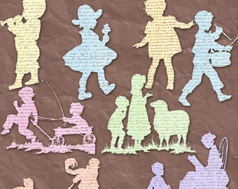 Old Style Children Clip Art -INSTANT DOWNLOAD-16 Individual Png Files -Clipart for Personal or Commercial Use  - 300 DPI Embellishment
