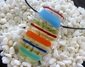 Fused Glass Pendant:  Colorful Stripes