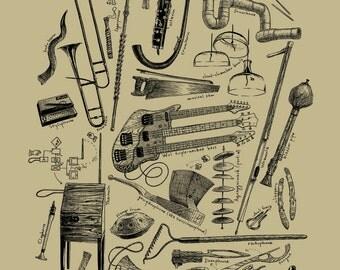 Instrumental Oddities 11x14 Music Print Unusual Instruments