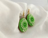 Green Dangle Earrings with Clay Floral made of Polymer Clay Handmade in Australia