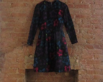 1950s abstract bright floral black dress