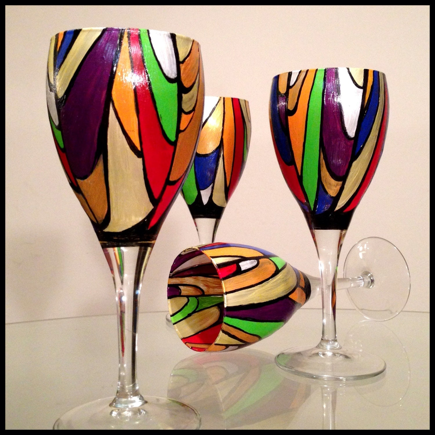 Hand painted wine glasses two available price is for two for Hand painted wine glasses