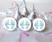540 ITS A BOY Footprints Blue Baby Feet Shower Favors Candy Stickers Labels Wrappers