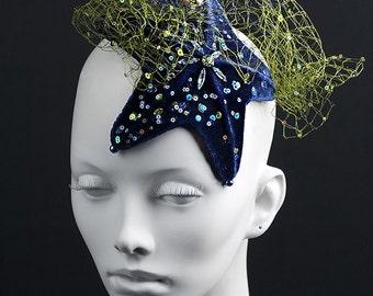 "Silk velvet headpiece in the shape of starfish with French silk veil ""NYC aquarium"""