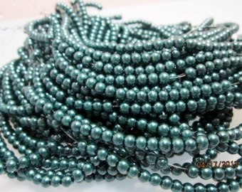 Gorgeous Teal 4 mm Glass Pearl Beads