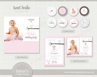 Tweet Birdie Printable Birthday Party Package by tania's design studio