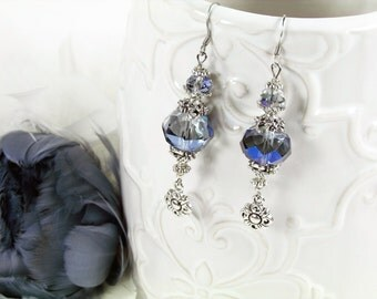 Victorian Dramatic Pale Blue Crystal and Flower Drop Silver-Tone Earrings
