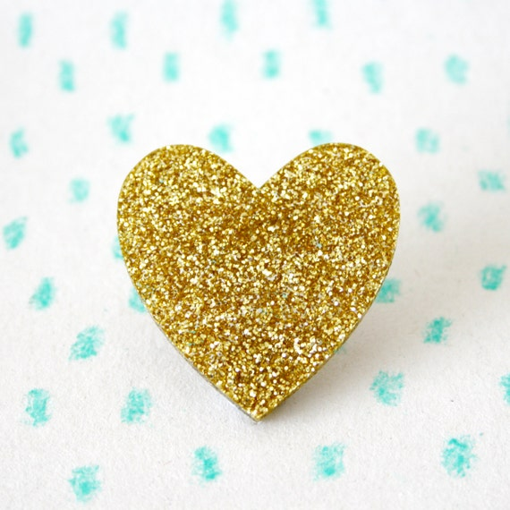 Sparkly Gold Glitter Love Heart Plastic Brooch Pin