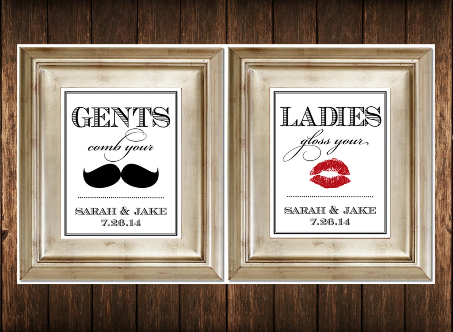 set of 2 bathroom signs customized ladies by serenitynowstudio