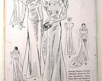 Sale - Vintage 30s Elegant Bias Gown, Formal or Bridal Butterick 7566 Sewing Pattern. Size 16