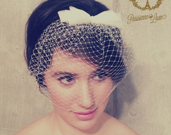 COSETTE -birdcage veil with 3 layer bow, russian netting, blusher veil, bridal birdcage veil, wedding headpiece, veil with bow, netting veil