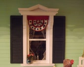 Dollhouse Miniature 1:12 Scale  Patriotic Americana Bunting-One Inch Scale Handmade Cloth  Red, White and Blue July 4th