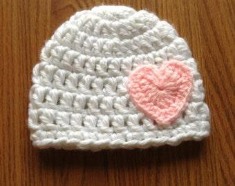 Crochet Valentine Heart Hat, Newborn -12 months *Made to Order*