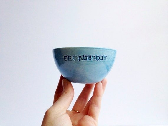 Ring Dish - Jewelry Dish - Small Ceramic Bowl - Teal Decor - Ceramics and Pottery - Inspirational Be Awesome