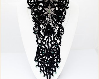 """Black Lace Necklace Silver Star Filigree Chains Gemstones """"Agathe"""" (tiger eye, moss agate, jade)"""