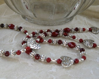 Silver Hearts and Red Bead Necklace