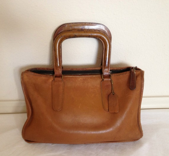 vintage coach cognac leather briefcase handbag. Black Bedroom Furniture Sets. Home Design Ideas