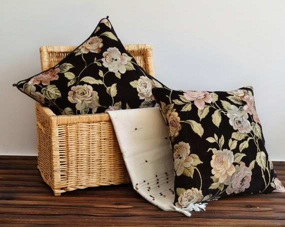 Black Floral With Piping Pillow Cover Tapestry Pillow