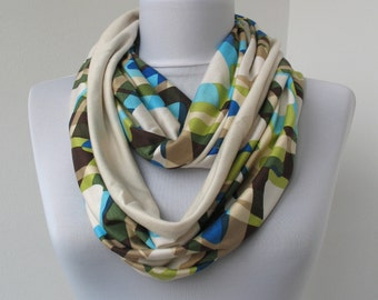 CLEARANCE SALE - Colorful Cotton Scarf - Infinity Colorful Scarf - Loop Scarf - Circle Scarf - Scarf Necklace - 342