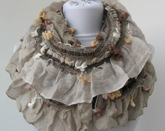 CLEARANCE SALE - Beige Circle Scarf - Infinity Ruffle Scarf - Frilly Shawl - Fashionable Neck warmer - Trendy Fabric Scarf  700