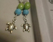 Blue/Green Sea Turtle Dangle Earrings