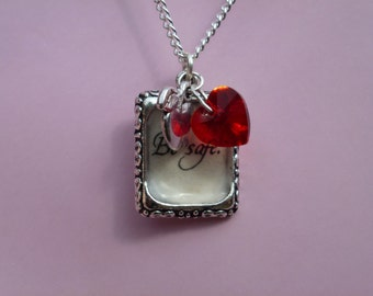 Twilight Inspired - Be Safe Quote - Recycled Twilight Book - Necklace