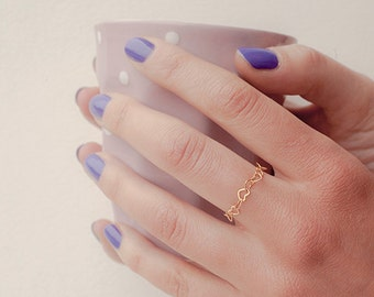 Tiny heart ring, dainty gold heart ring - modern stackable gold ring - layering jewelry