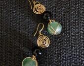 Harmony - African Glass Bead & Onyx Earrings, Wire Jewelry, Gemstone Jewelry
