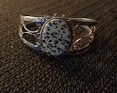 Dalmatian Jasper Cuff Bracelet, Silver Bracelet, Gemstone Bracelet, Fashion Jewelry